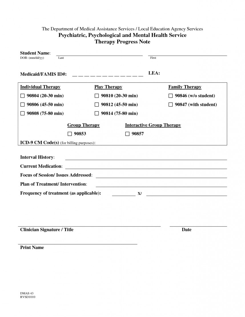 Pediatric Physical Therapy Progress Note Template