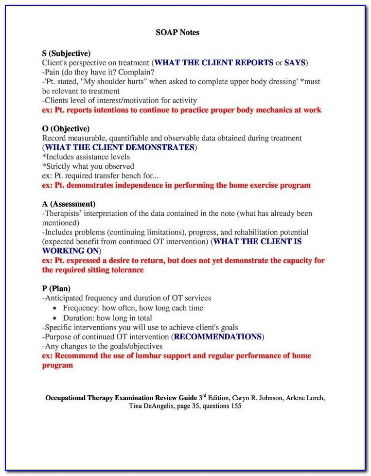 Pediatric Physical Therapy Soap Note Template