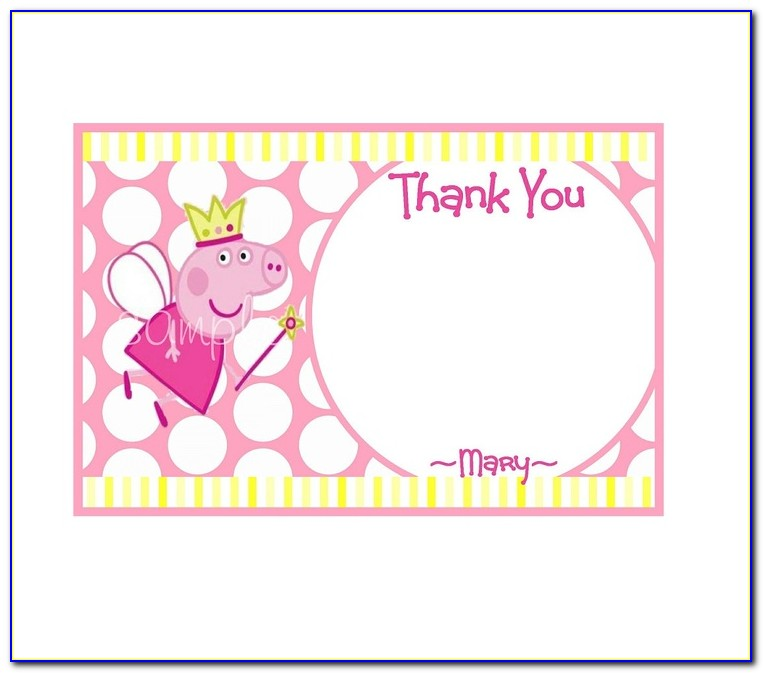 Peppa Pig Thank You Card Template