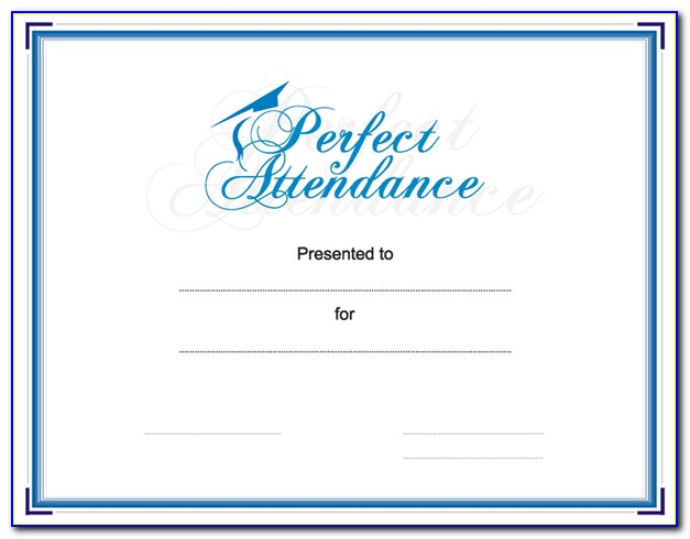 Perfect Attendance Certificate Template Free