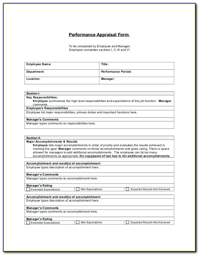 Performance Appraisal Template For Finance Manager