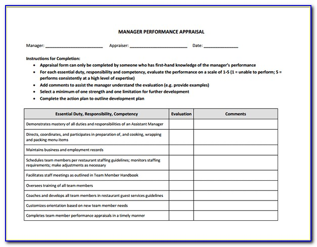 Performance Appraisal Template For Managers