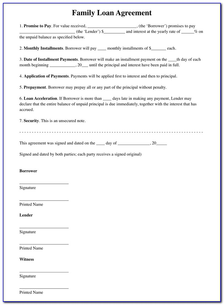 Personal Family Loan Agreement Template