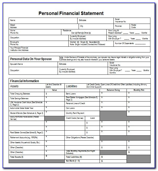 Personal Financial Statement Template Word