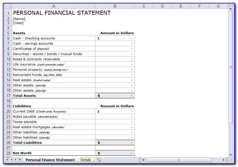 Personal Financial Statement Word Format