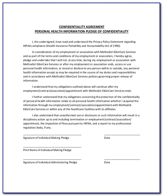 Personal Health Information Statement Of Confidentiality Form