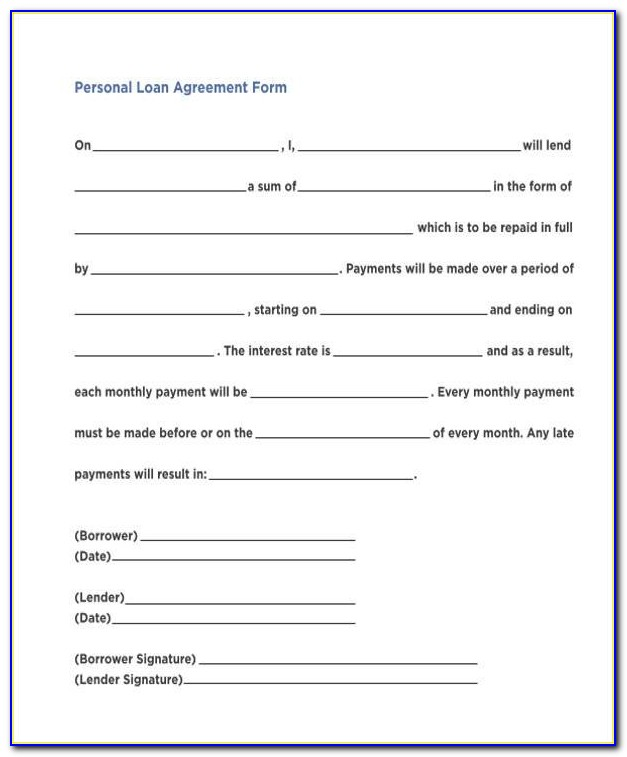 Personal Loan Agreement Contract Pdf