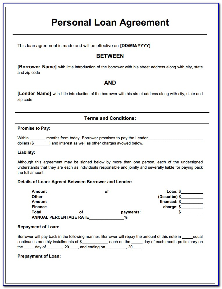 Personal Loan Agreement Form Free Download