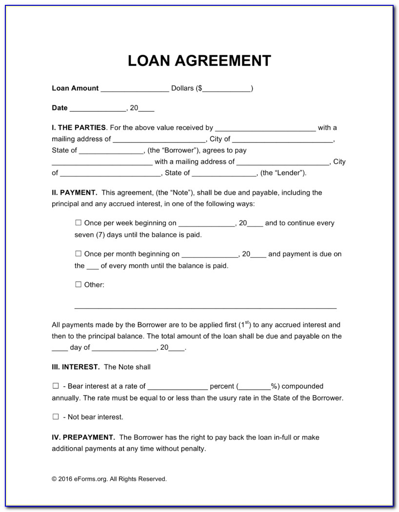 Personal Loan Contract Template Free