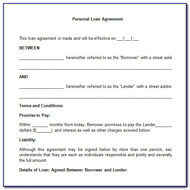 Personal Loan Contract Template Pdf