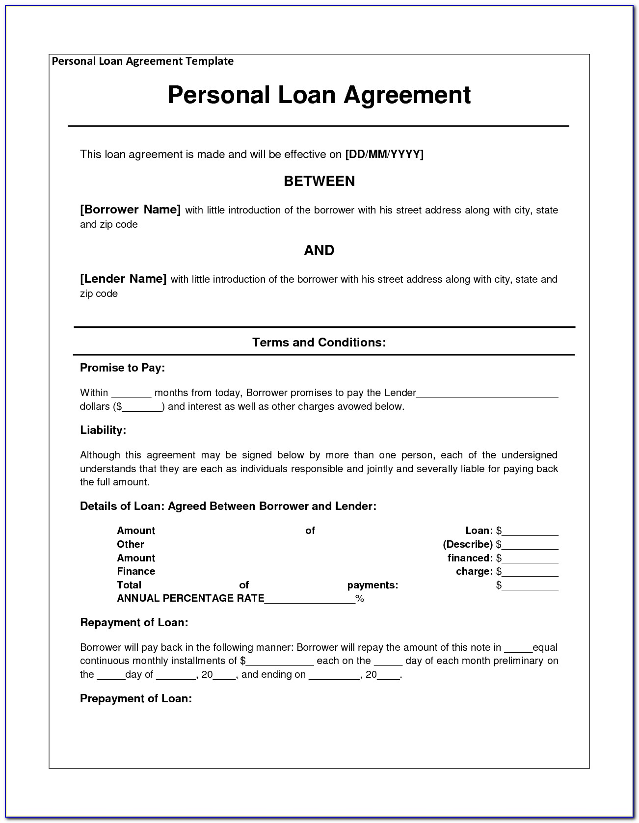 Personal Loan Contract Template Word