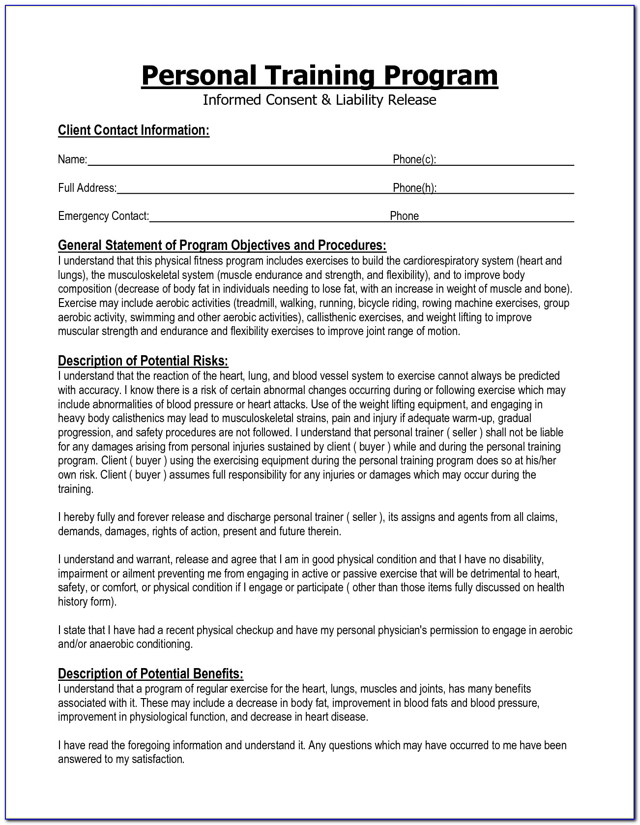 Personal Trainer Waiver Form