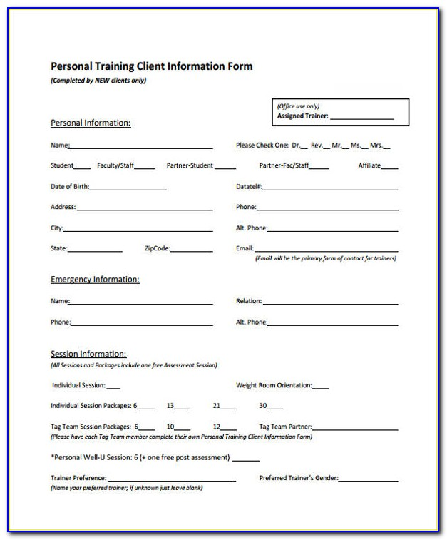 Personal Training Forms For Clients