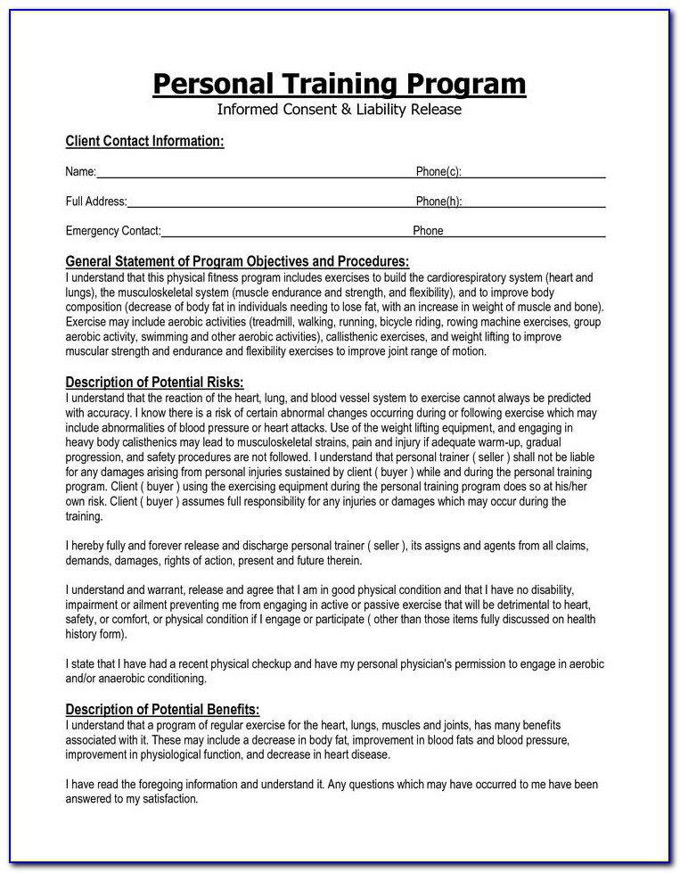 Personal Training Waiver Forms