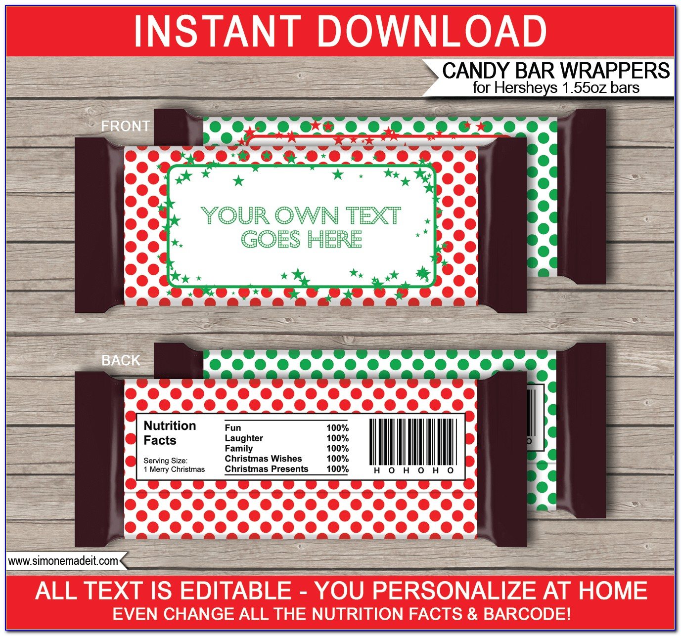 Personalized Hershey Bar Wrappers Template