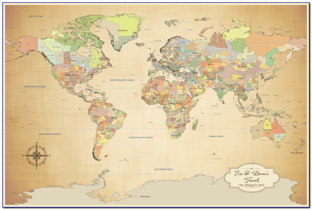 Personalized Pin Your Journeys World Map