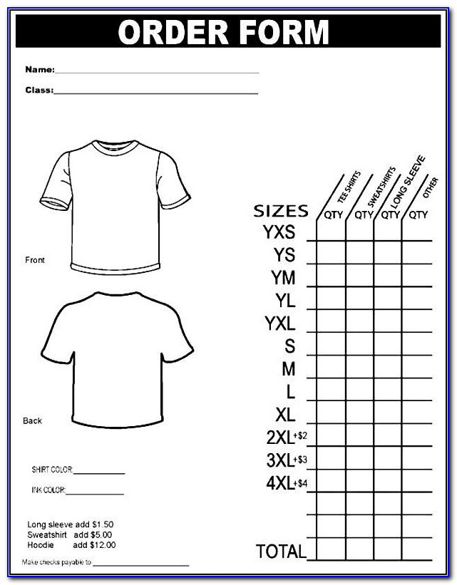 Personalized T Shirt Order Form Template