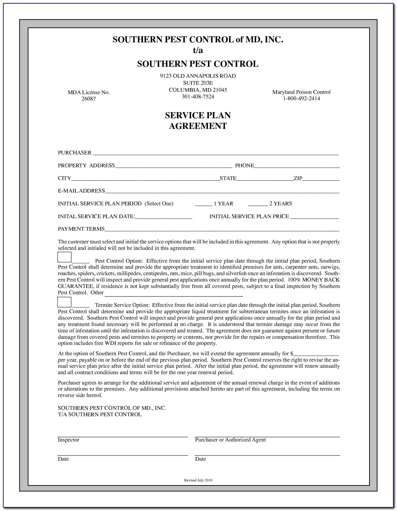Pest Control Service Agreement Contract
