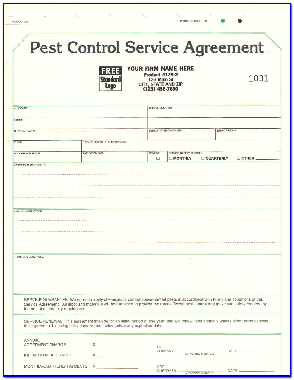Pest Control Service Agreement Form