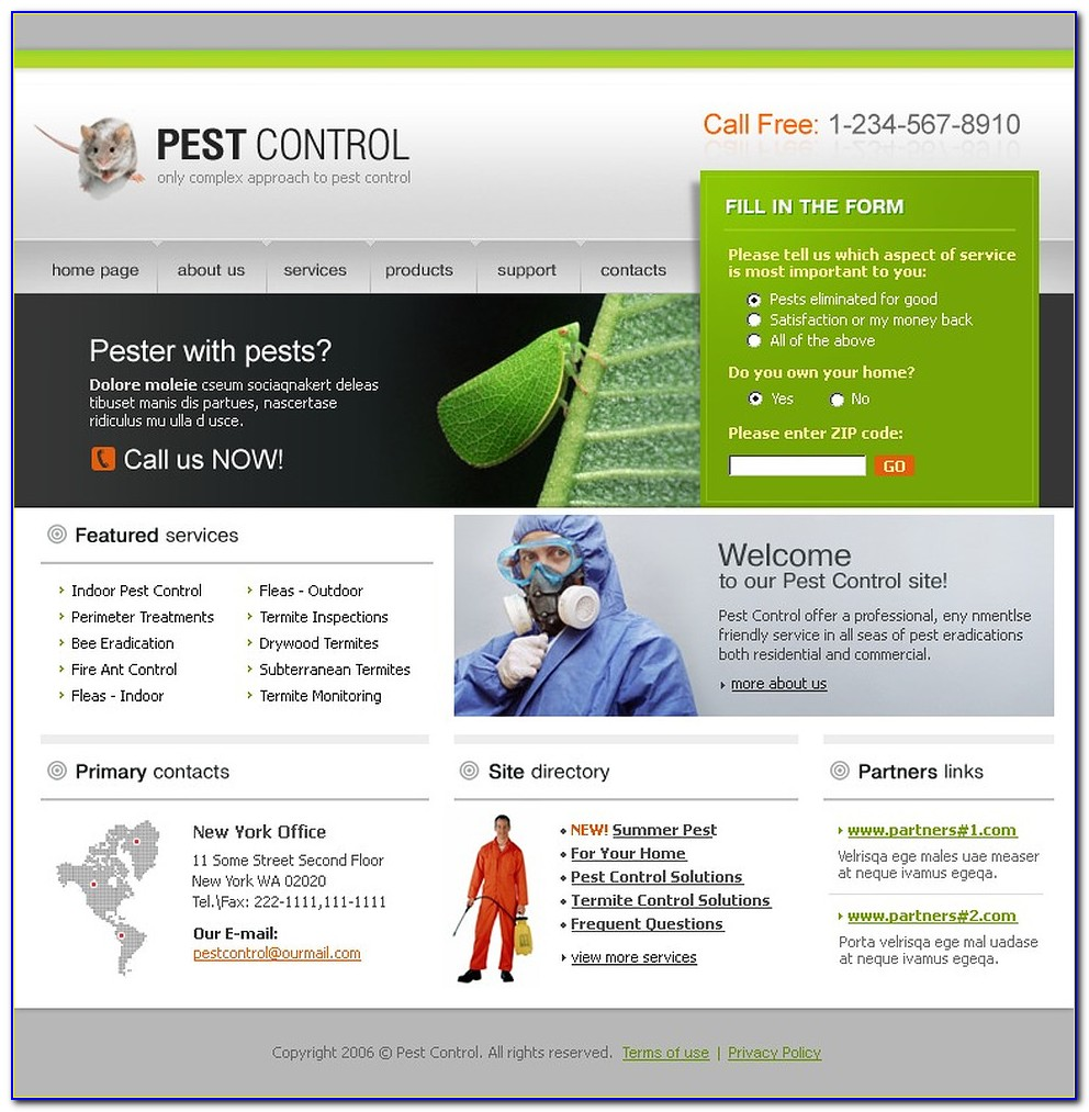 Pest Control Website Template Free Download