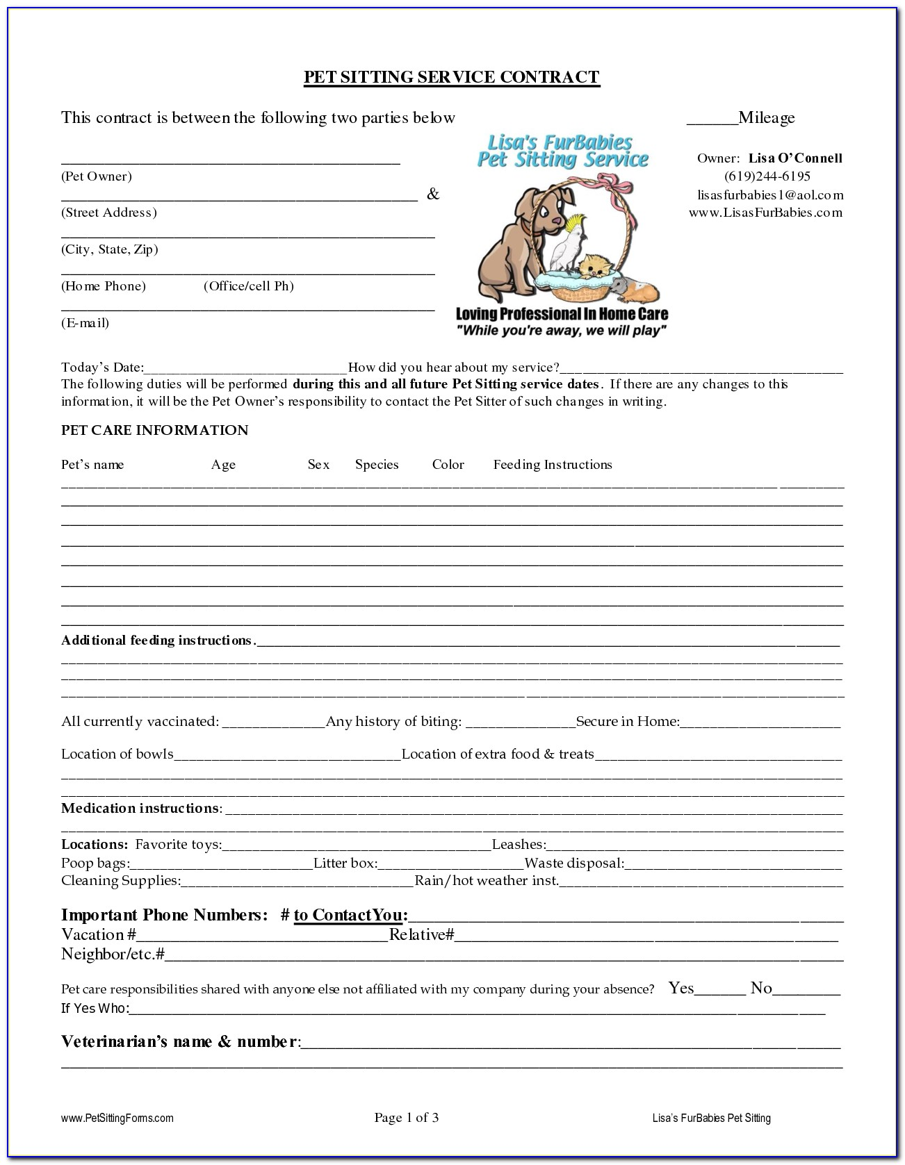 Pet Sitter Contract Template Free