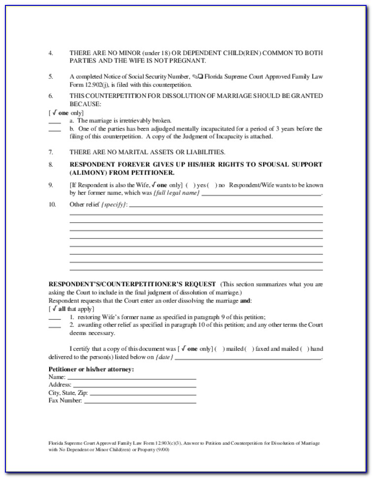 Petition For Dissolution Of Marriage Florida Forms