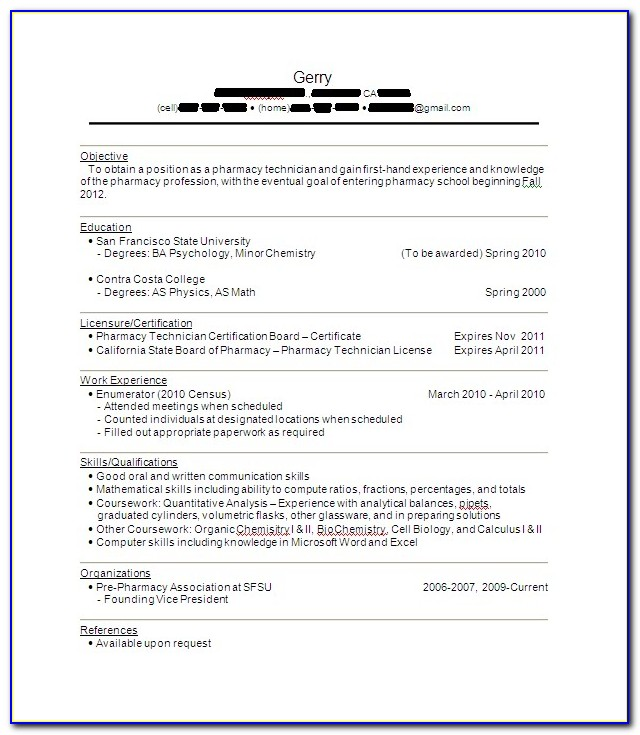 Pharmacy Technician Resume Responsibilities