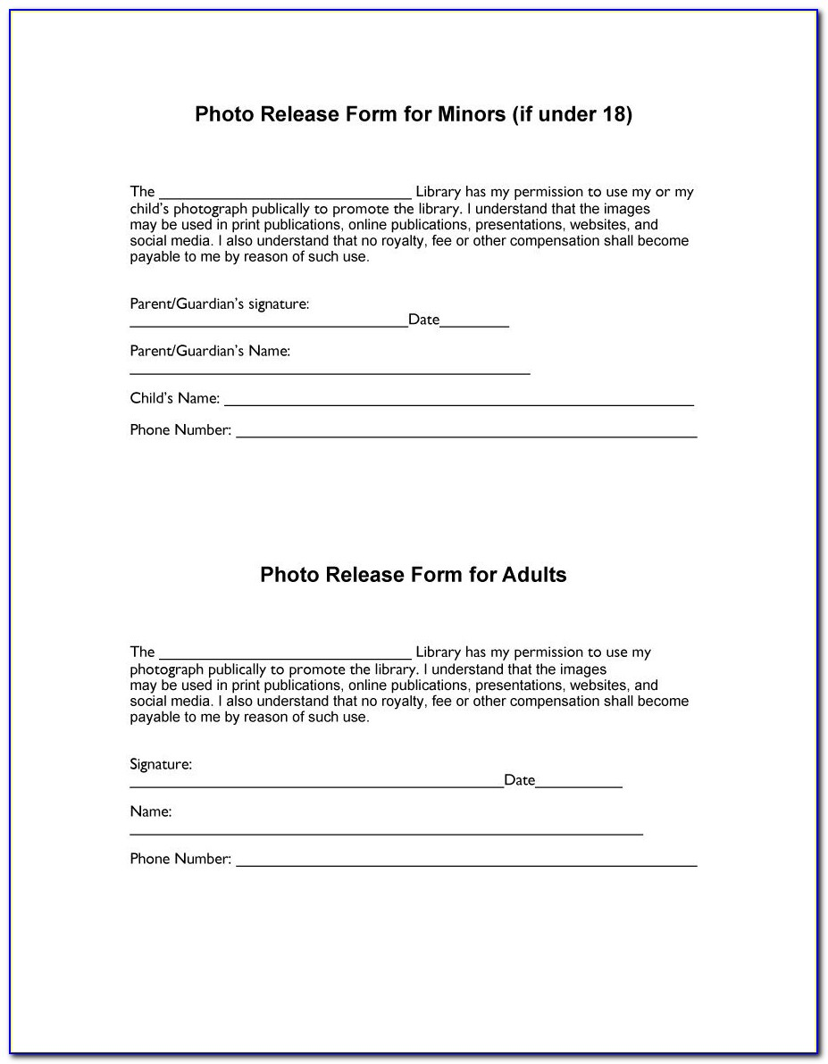 Photographers Model Release Forms