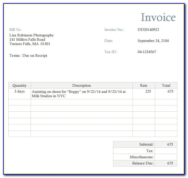 Photography Assistant Invoice Template