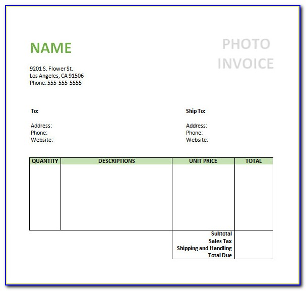 Photography Invoice Template Doc