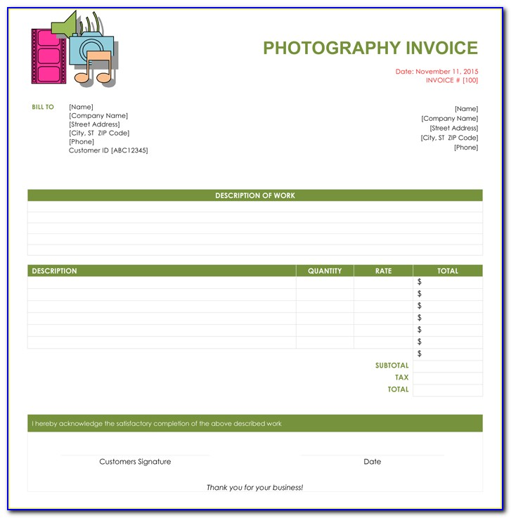 Photography Invoice Template Download