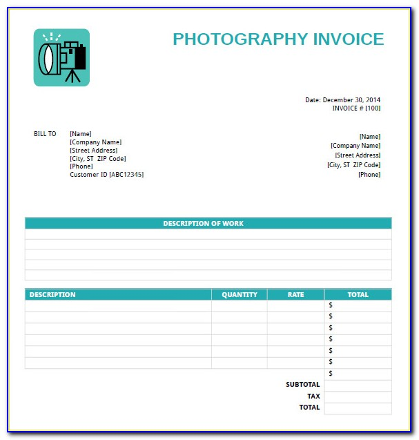 Photography Invoice Template Free Download