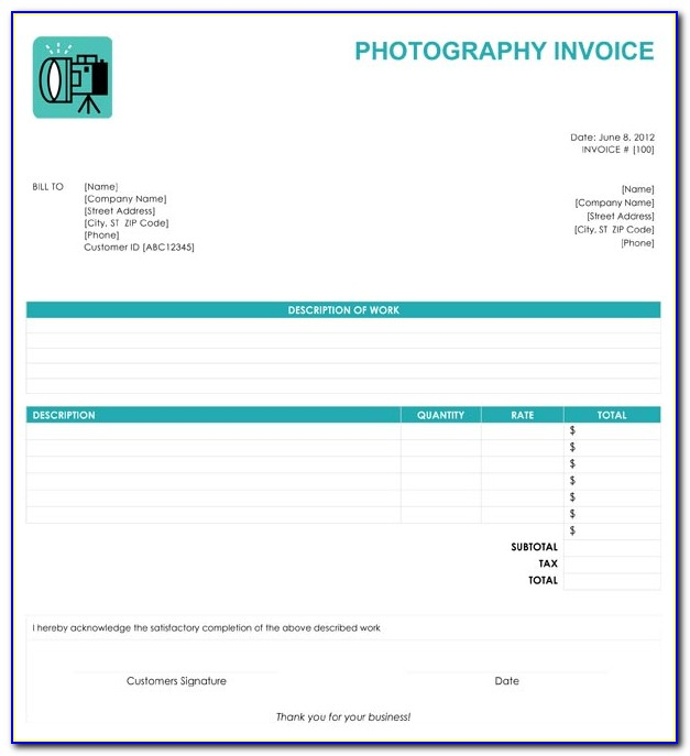 Photography Invoice Template Free