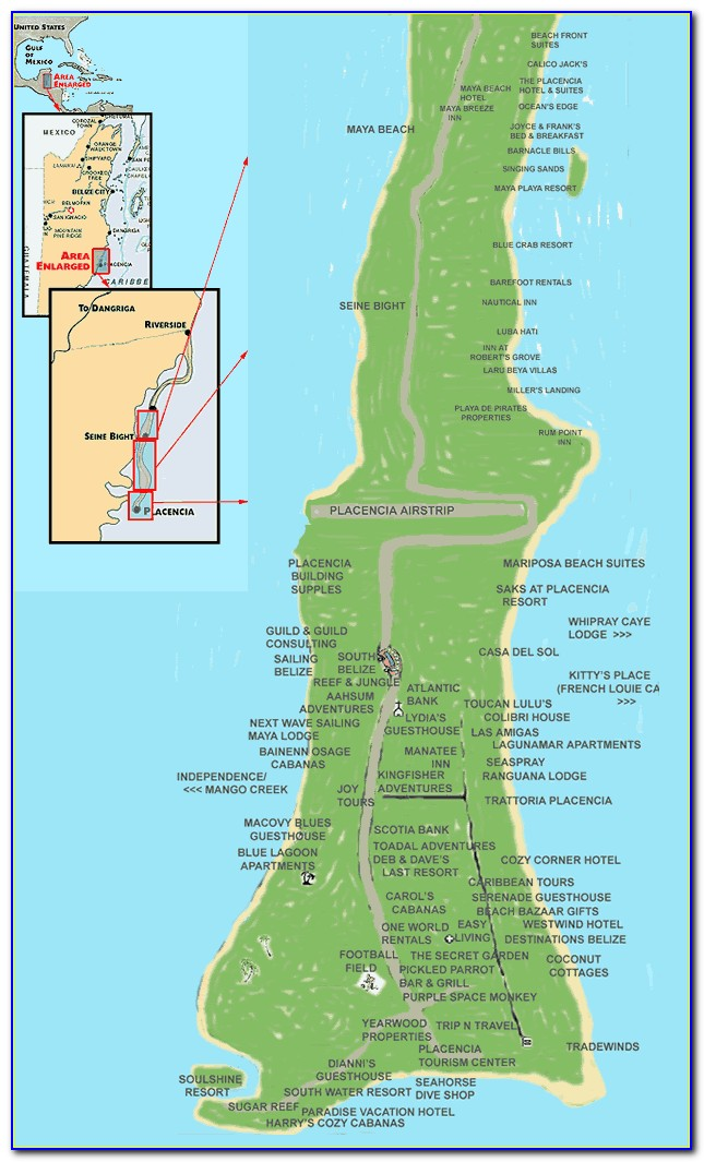 Placencia Belize Hotels Map