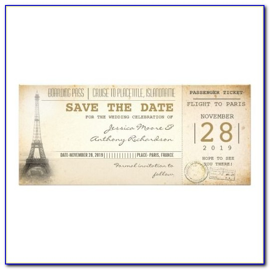 Plane Ticket Save The Date Template