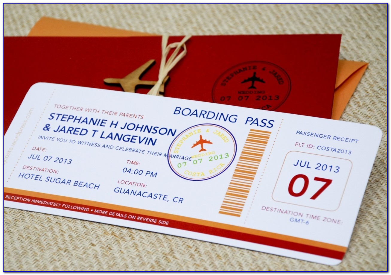 Plane Ticket Wedding Invitation Template