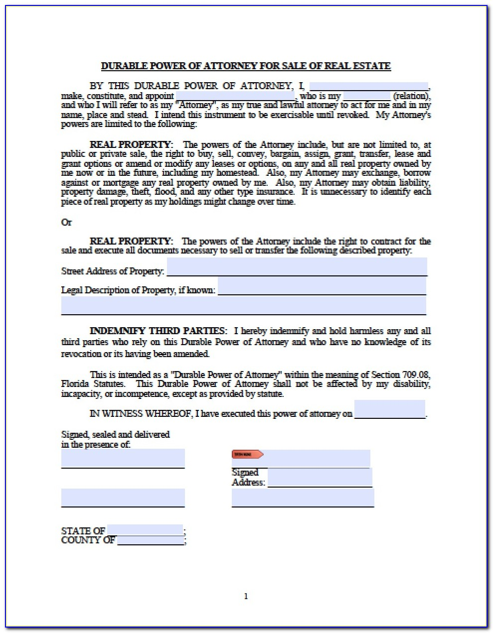Power Of Attorney Form Florida Medical