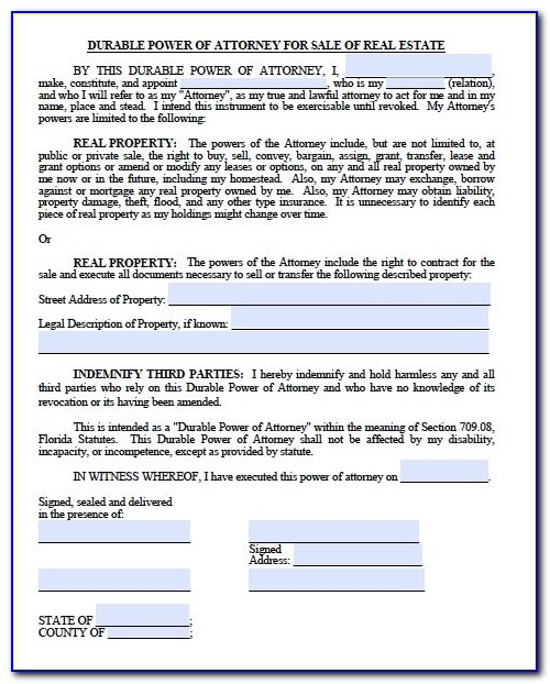 Power Of Attorney Form Florida Sample