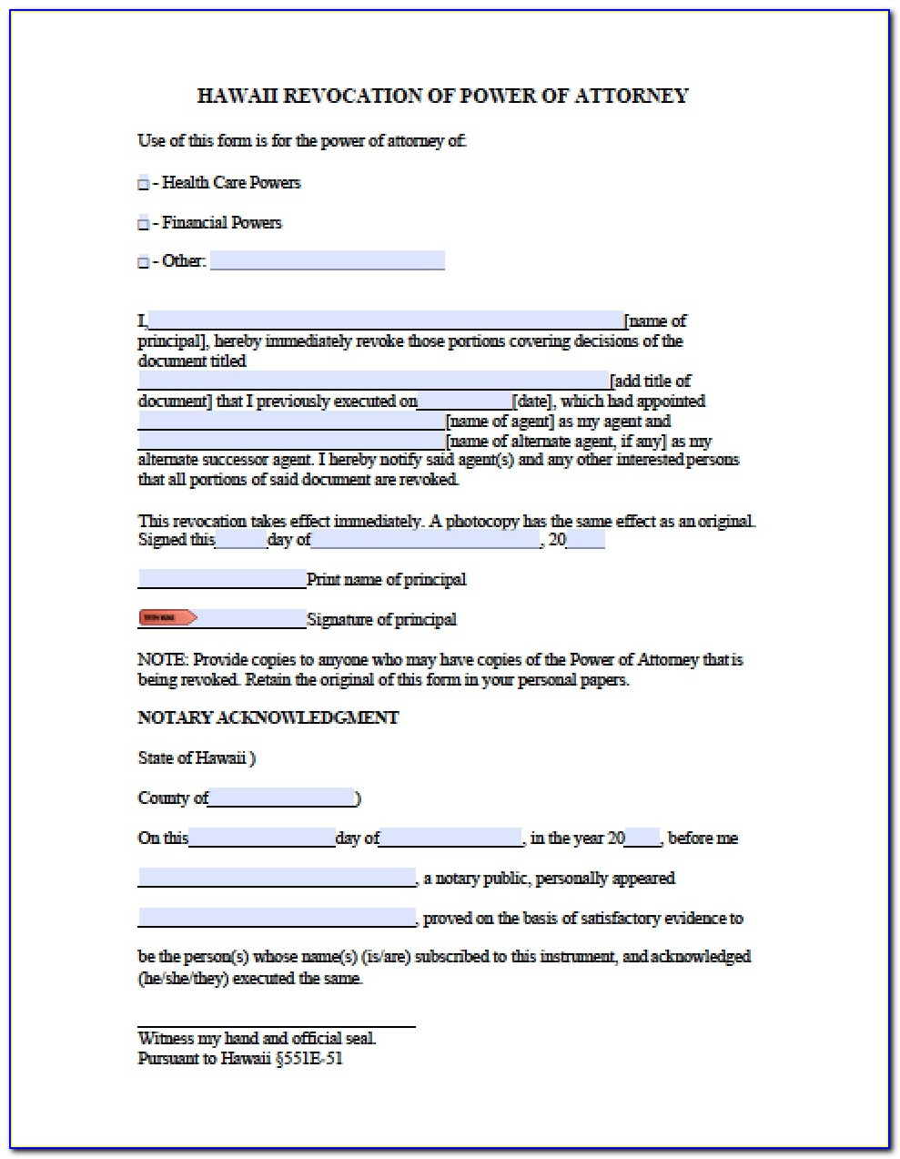 Power Of Attorney Form Hawaii State