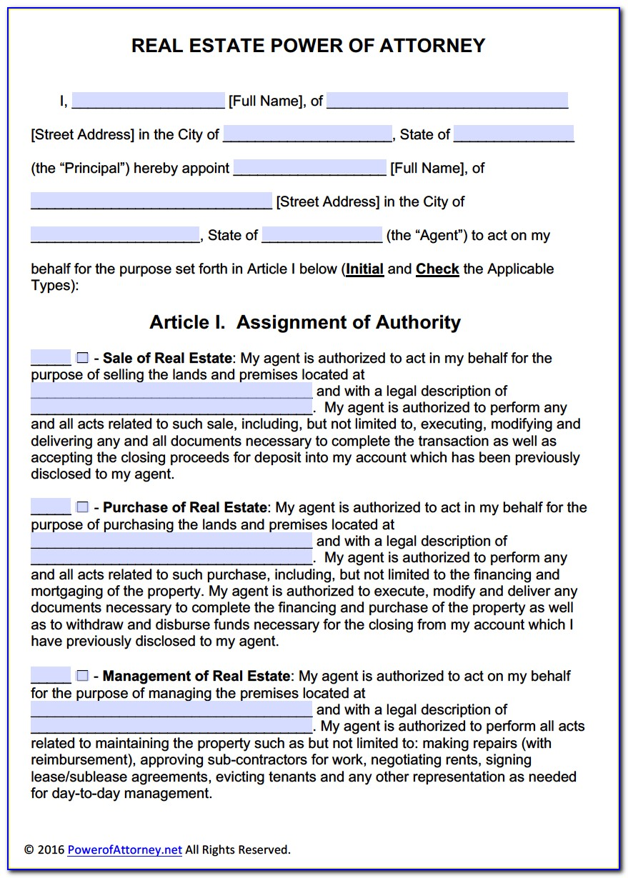Power Of Attorney Form Real Estate Wisconsin