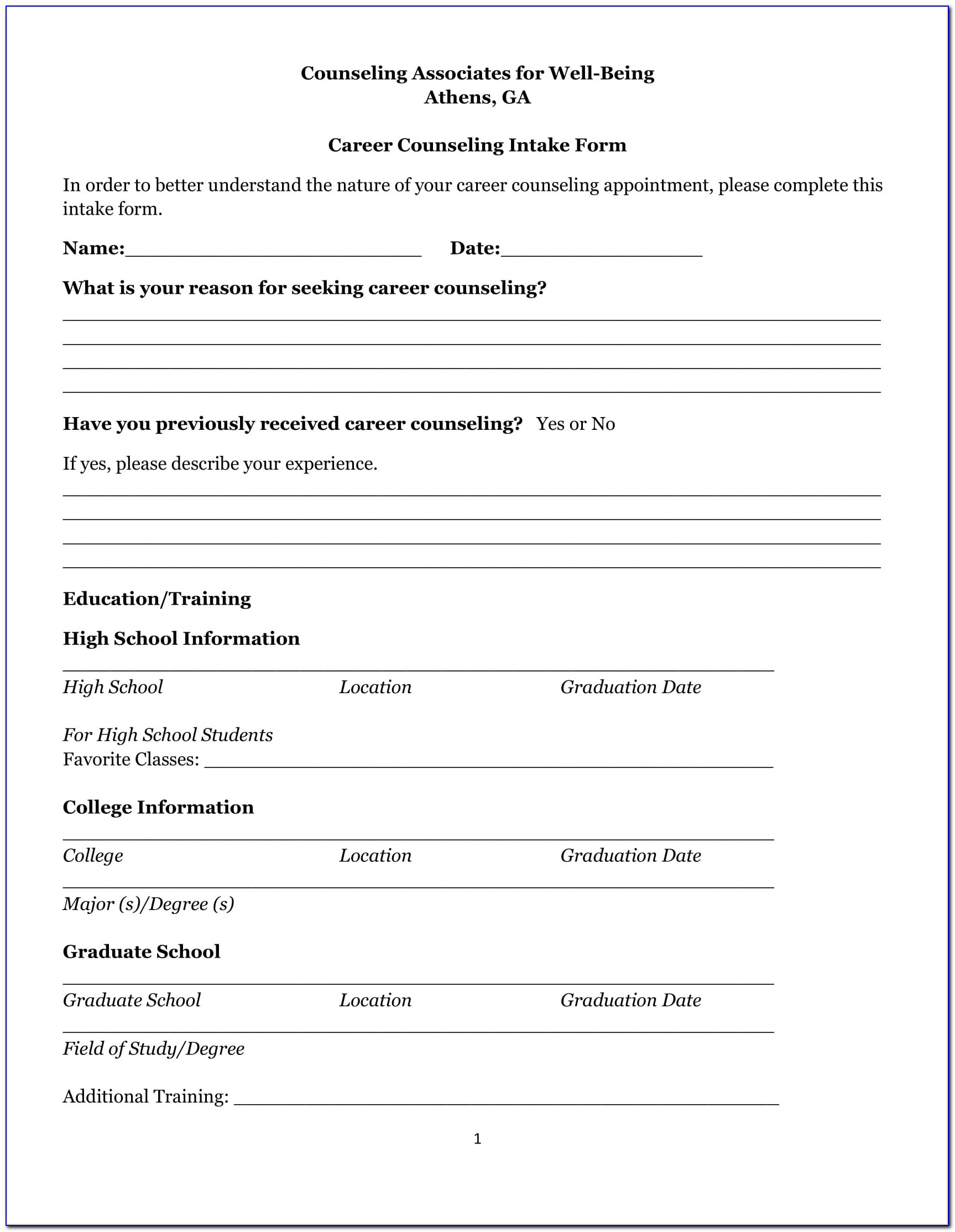 Premarital Counseling Certificate Of Completion Template Unique 21 Counseling Intake Forms Pdf Doc