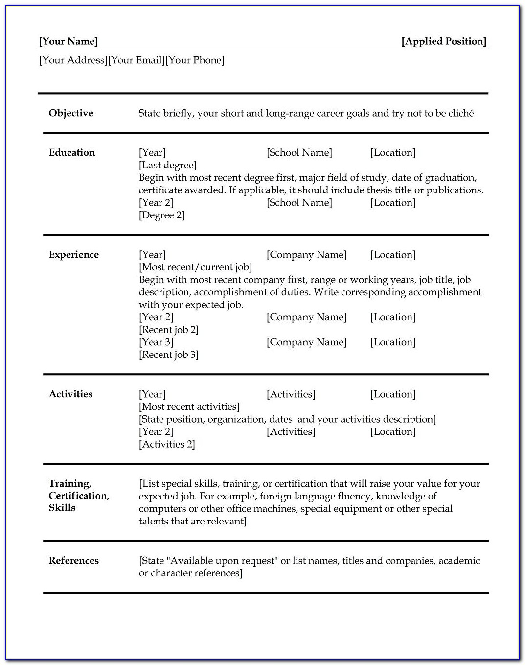 Prepare Good Resume Format