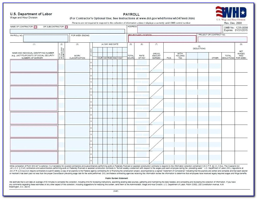 Prevailing Wage Certified Payroll Form California