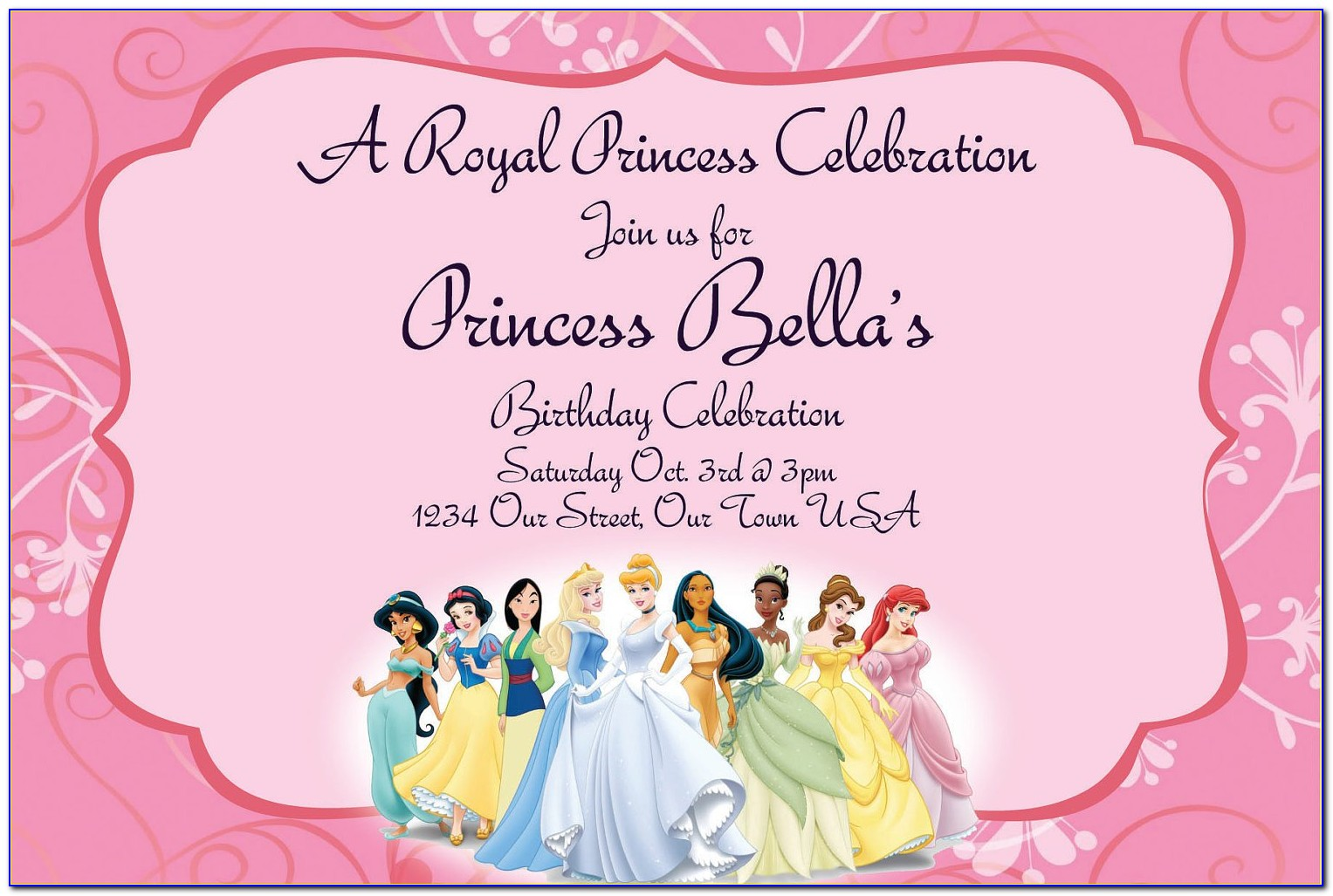 Princess Birthday Invitation Card Template