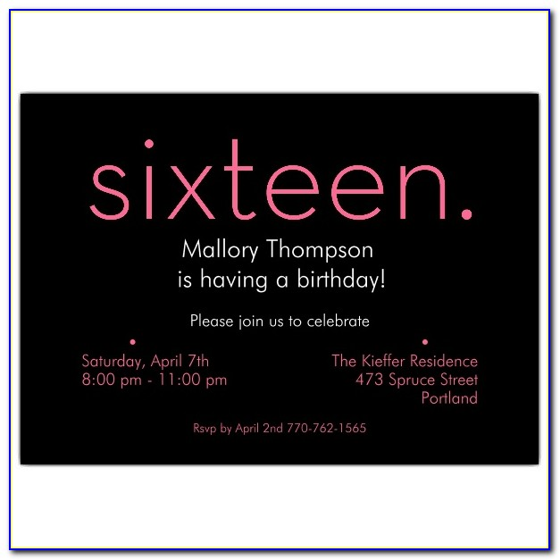 Printable 16th Birthday Invitation Templates