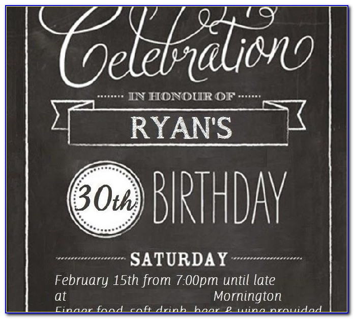 Printable 30th Birthday Invitation Templates