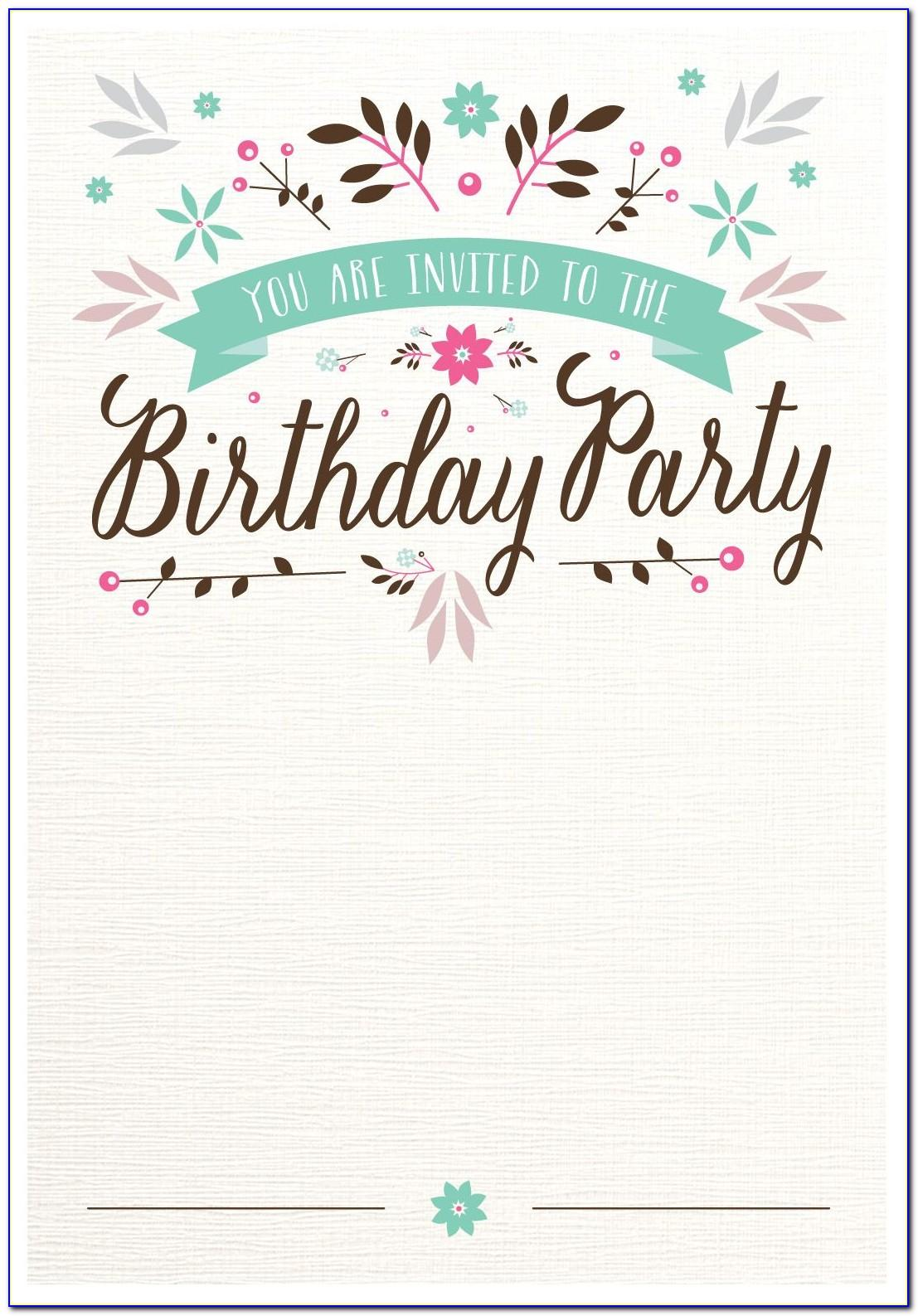 Printable Birthday Party Invitation Templates