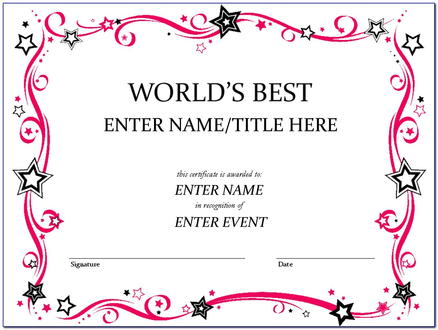 Printable Certificate Templates For Preschool