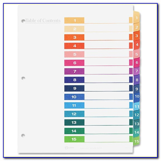 Printable Divider Tabs Template