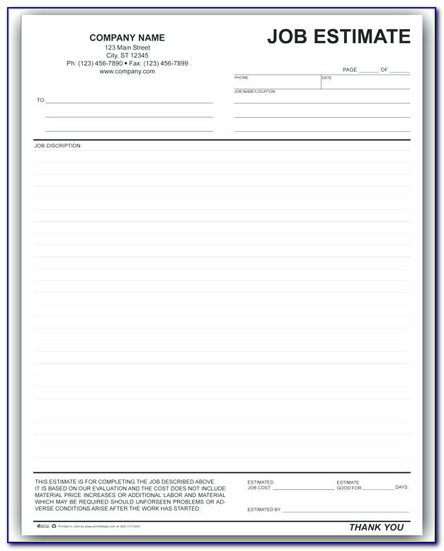 Printable Job Estimate Template